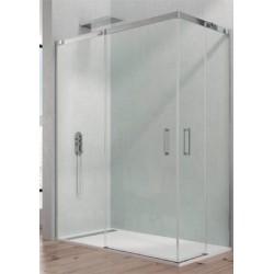 Mampara de ducha Temple acero fijo + corredera