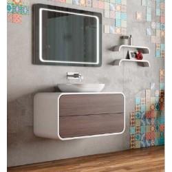 Mueble de baño Onix blanco y nogal