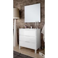 Mueble de baño Bolton con patas lacado blanco