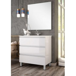 Mueble de baño Dundee lacado blanco con patas