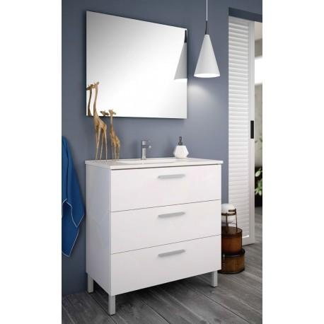 Mueble de baño Mallorca lacado blanco brillo con patas