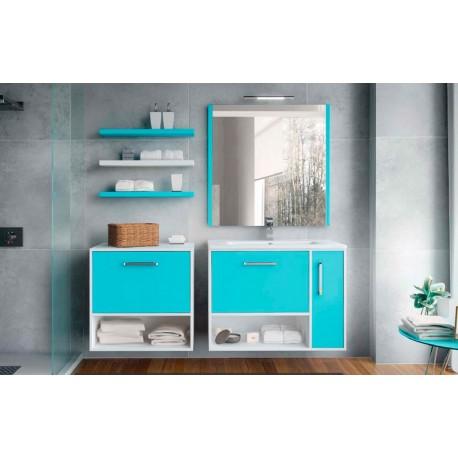 Mueble de baño Kira suspendido blanco y azul